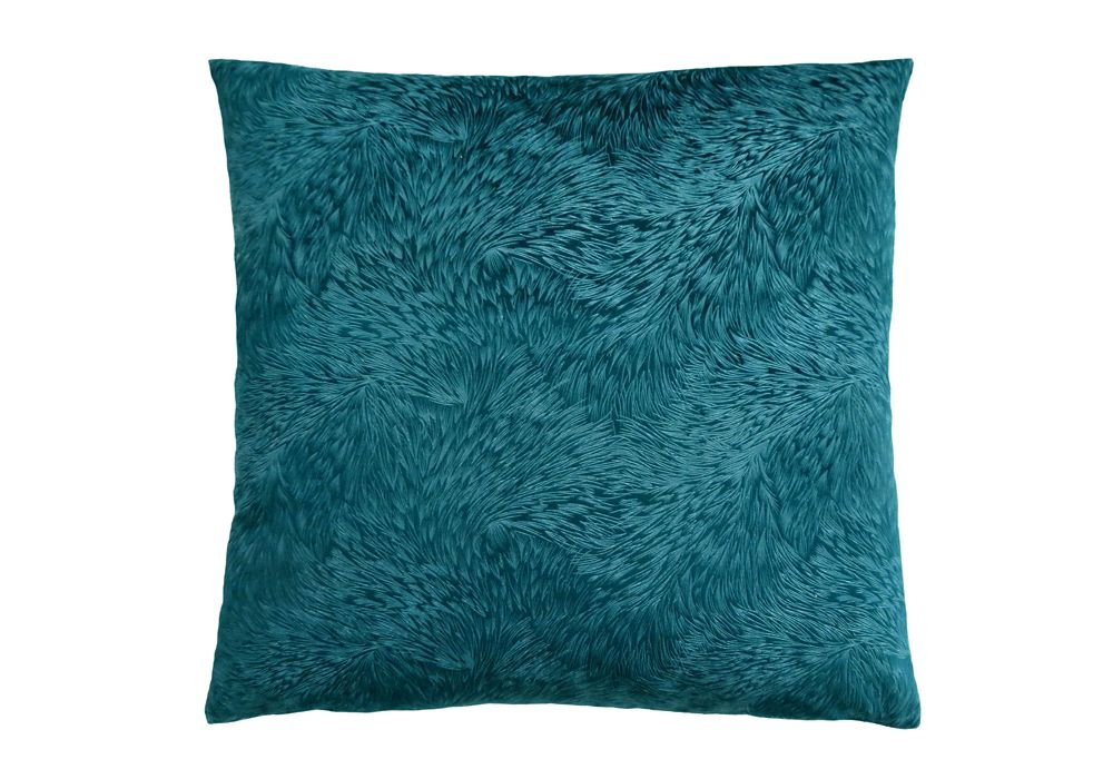 Monarch Specialties 18-inch x 18-inch Turquoise Feathered Velvet Pillow