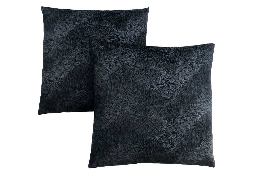 Monarch Specialties Pillow - 18-inch X 18-inch Black Feathered Velvet (2-Pcs)