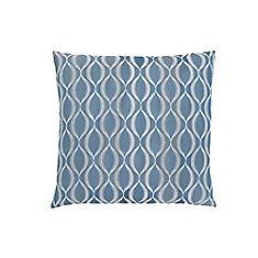 18-inch x 18-inch Blue Wave Pattern Pillow