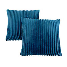 Pillow - 18-inch X 18-inch Blue Ultra Soft Ribbed Style (2-Pcs)