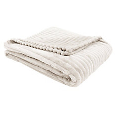 Throw - 60-inch X 50-inch Ivory Ultra Soft Ribbed Style