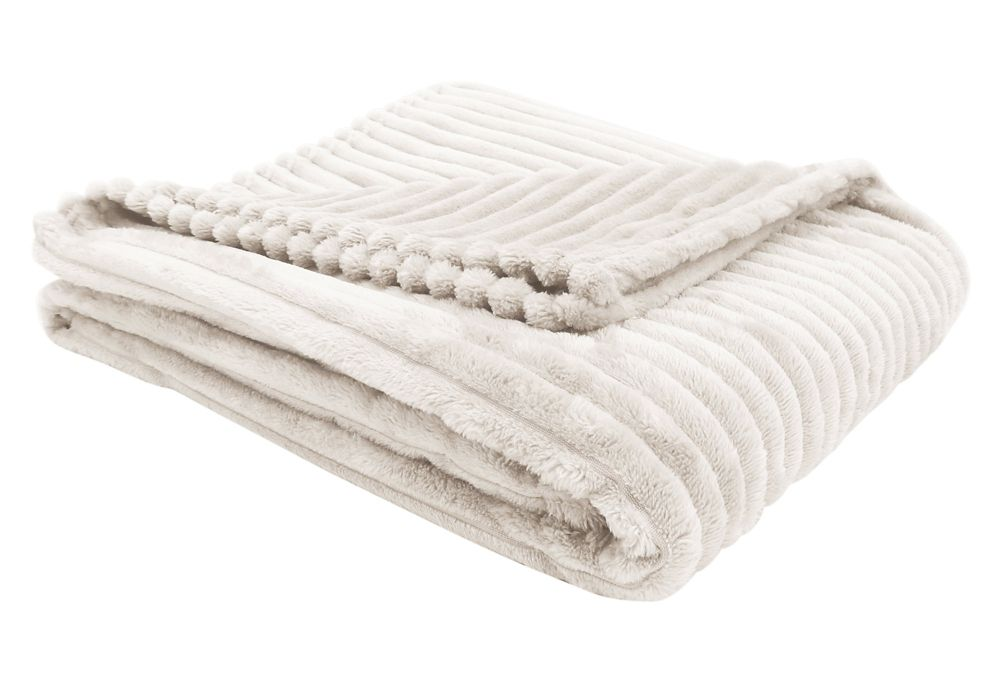 Monarch Specialties Throw - 60-inch X 50-inch Ivory Ultra Soft Ribbed Style