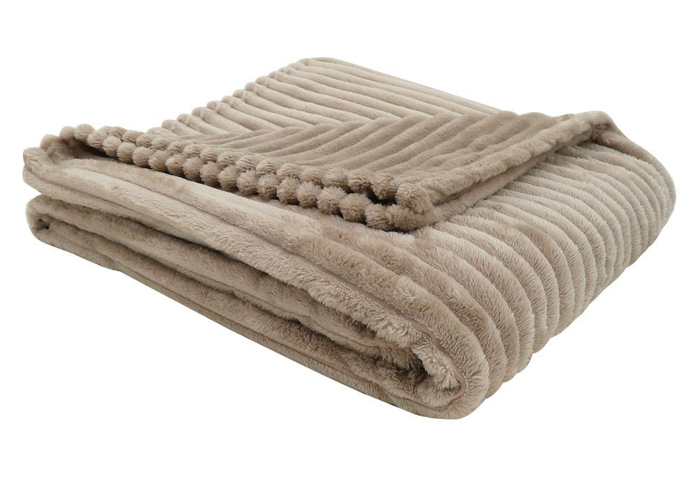 Monarch Specialties Throw - 60-inch X 50-inch Beige Ultra Soft Ribbed Style
