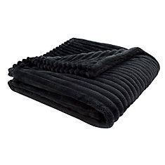 Throw - 60-inch X 50-inch Black Ultra Soft Ribbed Style