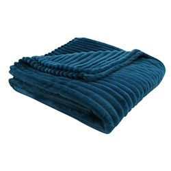 Monarch Specialties Throw - 60-inch X 50-inch Blue Ultra Soft Ribbed Style