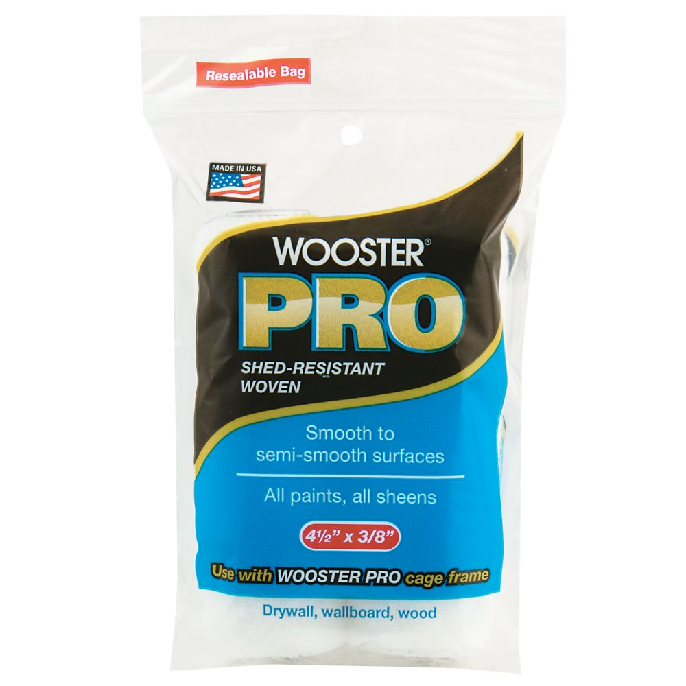 4-1/2 in. x 3/8 in. (115mm x 10mm) Wooster Pro Woven Mini Roller Cover (2-Pack)