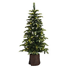 4.5 ft. 70 Warm White LED-Lit Artificial Flocked Potted Christmas Tree