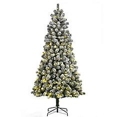 7.5 ft. 350 Multi-Colour LED-Lit Artificial Flocked Christmas Tree
