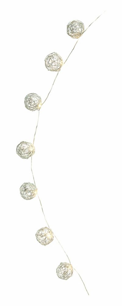 Home Accents Holiday 30-Light LED Silver Globe Christmas Lights with Timer
