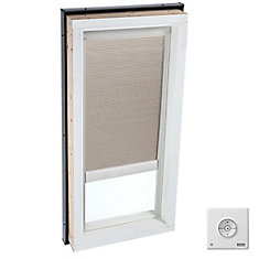 Beige- Solar powered Room Darkening blind for Curb Mount Skylight size 2246- double pleated