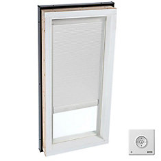 White- Solar powered Room Darkening blind for Curb Mount Skylight size 4646- double pleated