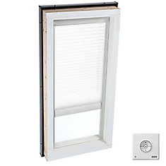 White- Solar Powered Light Filtering Blind for Curb Mount Skylight size 4646- single pleated