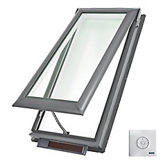 VSS - Solar Powered Venting Deck Mount Skylight size M06 - outside frame 30 9/16 inch x 46 1/4 inch- Laminated LoE3
