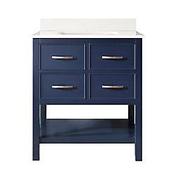 Home Decorators Collection Meuble-lavabo à 2tiroirs Brookbank avec dessus en marbre usiné blanc, 30po, bleu marine