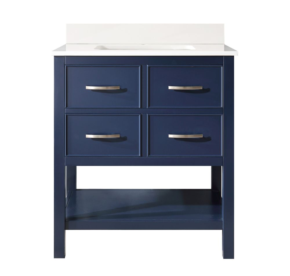 Home Decorators Collection Brookbank 30-inch 2-Drawer Vanity in Navy Blue with White Engineered Marble Top