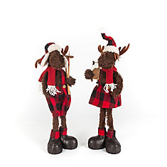 Boy and Girl Plush Moose Figurines