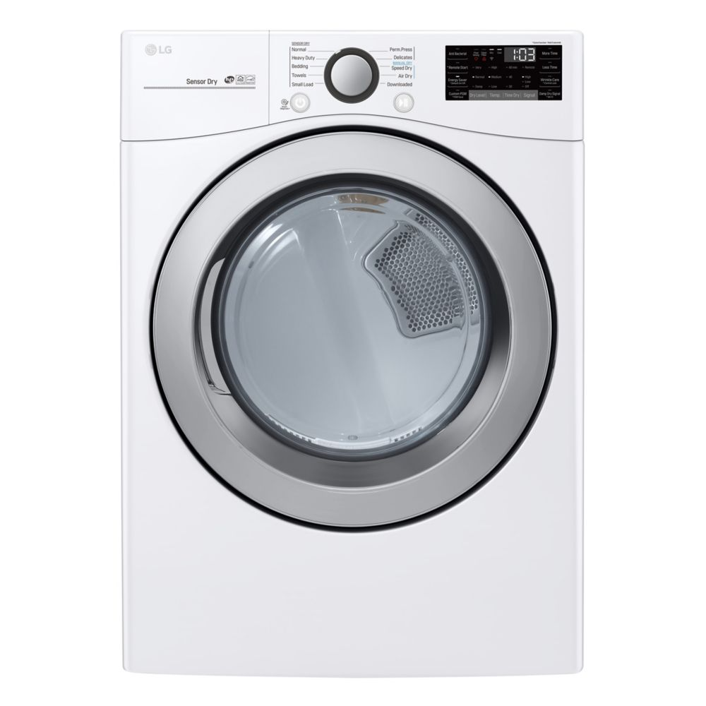LG Electronics 7.4 cu. ft. Electric Dryer with Ultra Large Capacity and Sensor Dry in White