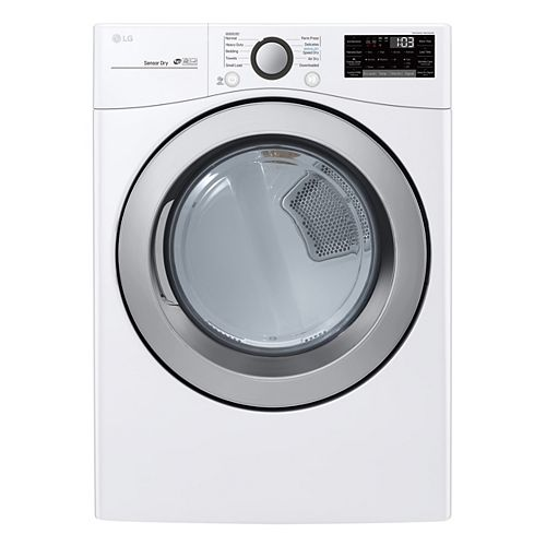 LG Electronics 7.4 cu. ft. Electric Dryer with Ultra Large Capacity and Sensor Dry in White - ENERGY STAR®