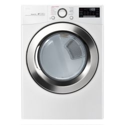 LG Electronics 7.4 cu. ft. Ultra Large Capacity Electric Dryer with TrueSteam Technology in White - ENERGY STAR®