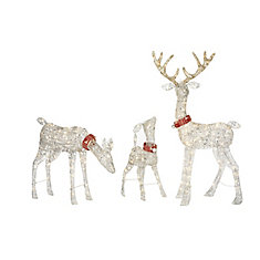 clear white pre lit deer christmas decoration