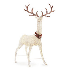 Home Accents Holiday 102-inch LED-Lit White Deer with Jingle Bell Collar