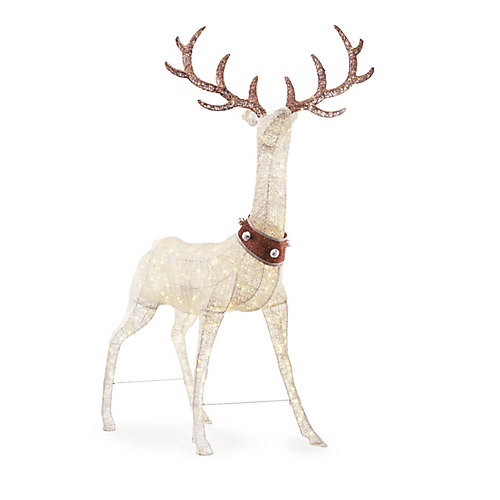 102-inch LED-Lit White Deer with Jingle Bell Collar