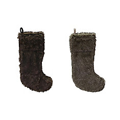 20 inch Faux Fur Stocking With Fold Over Cuff Assortment - 2 Styles