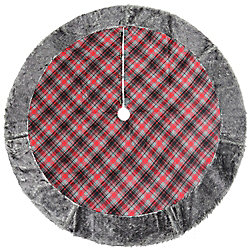 Home Accents Holiday 60-inch Dia. Plaid Christmas Tree Skirt with Faux Fur Border & Wooden Toggle