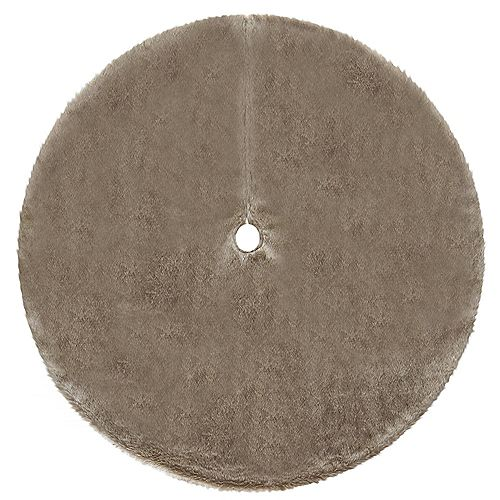 Home Accents 60-inch All-Over Faux Fur Lush Tree Skirt in Brown