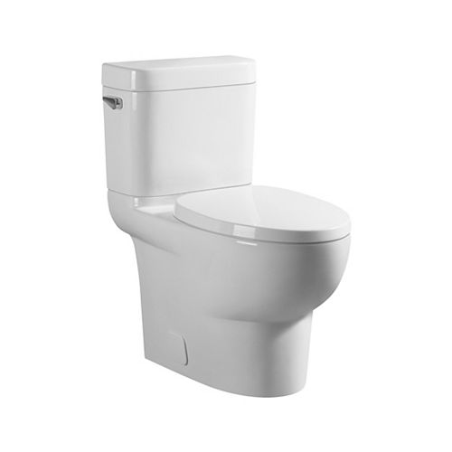 GLACIER BAY All-in-One 4.8 LPF High Efficiency Elongated  2-Piece Toilet with Concealed Trapway in White