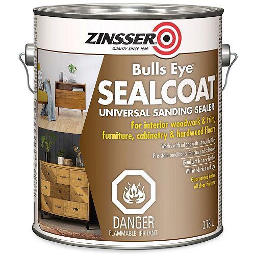 Zinsser Bulls Eye Sealcoat Shellac Base Universal Sanding Sealer For Interior Wood Surfaces , 3.7 L