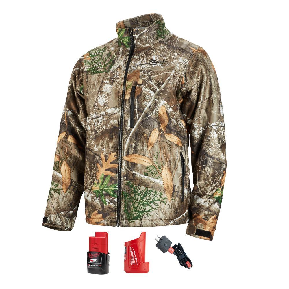 Milwaukee Tool Men's Large M12 12-Volt Lithium-Ion Cordless Realtree Camo Heated Jacket w/ (1) 2.0Ah Battery