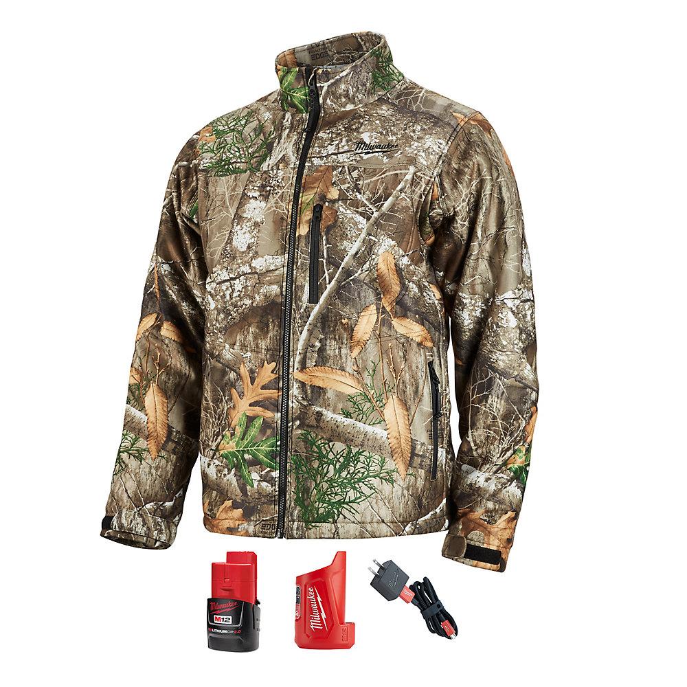 6009783a2b19d Milwaukee Tool Men's Medium M12 12-Volt Lithium-Ion Cordless Realtree Camo  Heated Jacket Kit with (1) 2.0Ah Battery