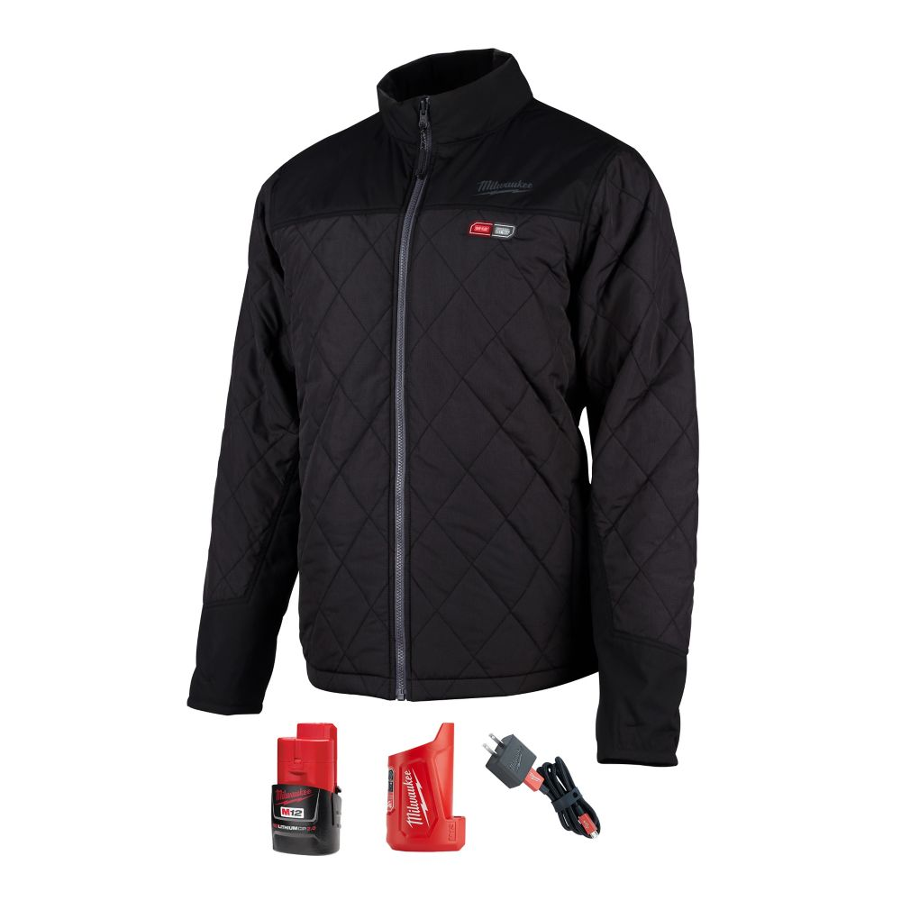 Milwaukee Tool Men's Medium M12 12V Lithium-Ion Cordless AXIS Black Heated Quilted Jacket w/ (1) 2.0Ah Battery