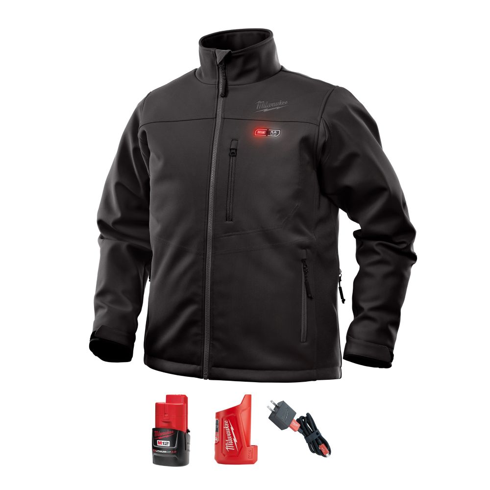 Milwaukee Tool Men's Large M12 12V Lithium-Ion Cordless Black Heated Jacket Kit w/ (1) 2.0Ah Battery, Charger