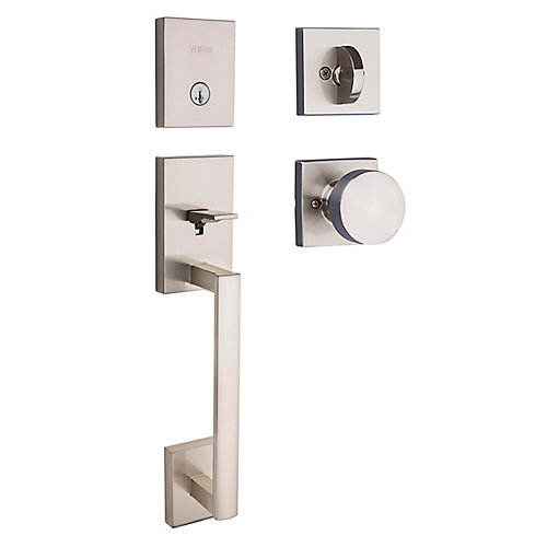San Clemente Entry Handleset with Cambie Knob in Satin Nickel
