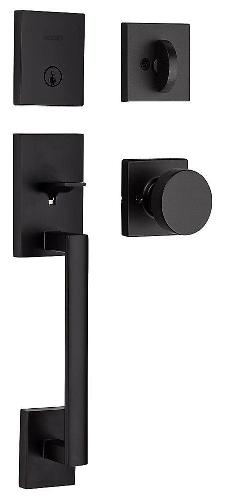 San Clemente Entry Handleset with Cambie Knob in Black