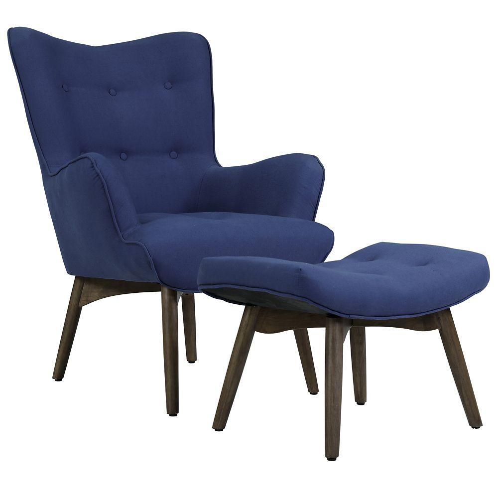 !nspire Shane Accent Chair W/Stool Dark Blue