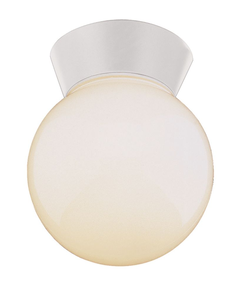 Bel Air Lighting Pershing 1-Light White Flushmount Lantern