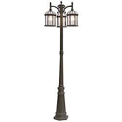 Bel Air Lighting Wentworth Poteau de lampe rouille avec 3 lumières