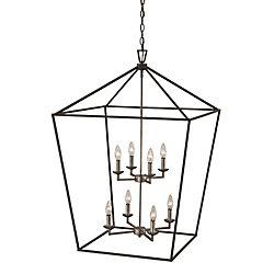 Bel Air Lighting Lacey 8 lumière lanterne chrome & noir pendante