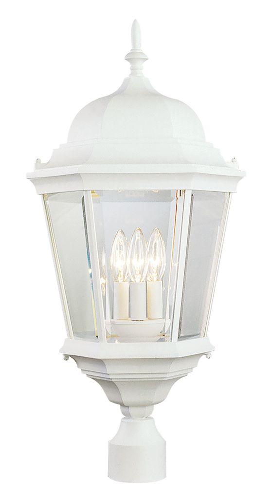 Bel Air Lighting Classical 3-Light White Postmount Lantern