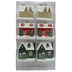 Home Accents Holiday Hand-Painted House Ornaments (6-Count)