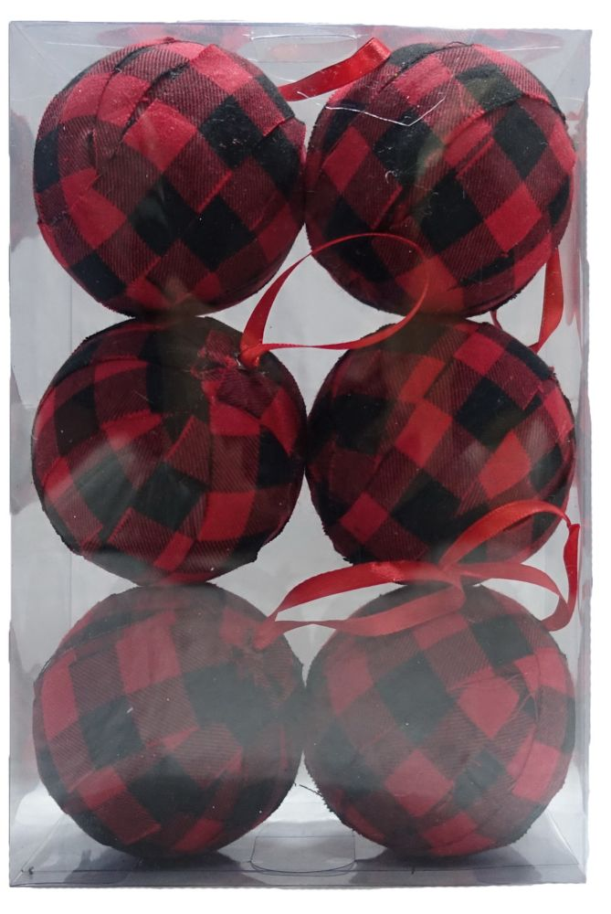 Home Accents Holiday 80mm Tartan Christmas Ornament (6-Pack)