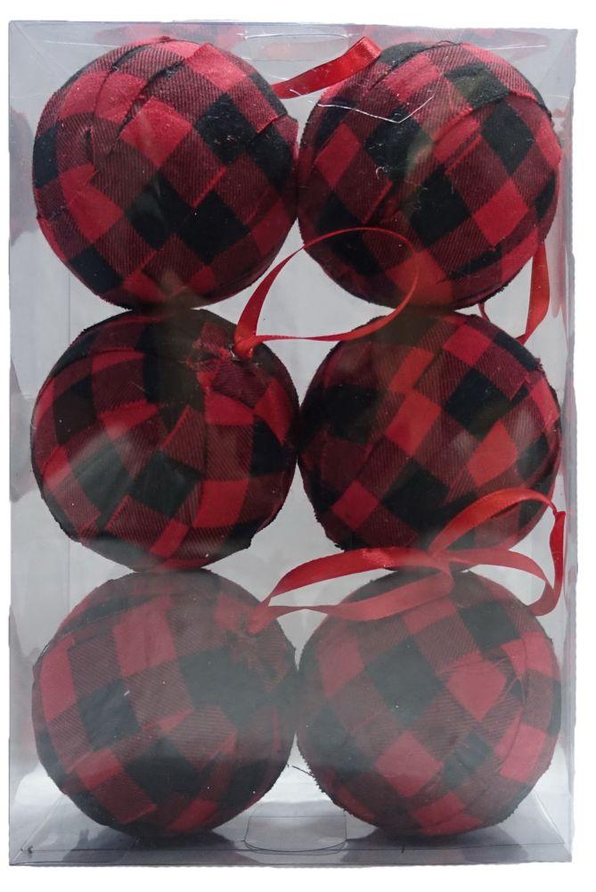 80mm Tartan Christmas Ornament (6-Pack)