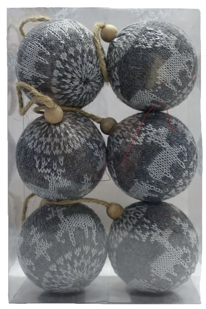 Home Accents Holiday 80mm Cable Knit Ornaments (6-Count)