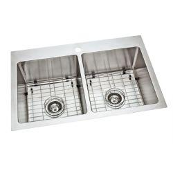 GLACIER BAY 18G  Tight Radius Double Bowl Kitchen Sink - 20.9 inch x 31.7 inch x 9 inch deep