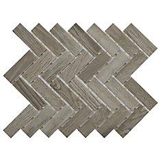 Decorative Accents Shadow Wood 9-inch x 12-inch x 6.35 mm Ceramic Herringbone Mosaic Tile