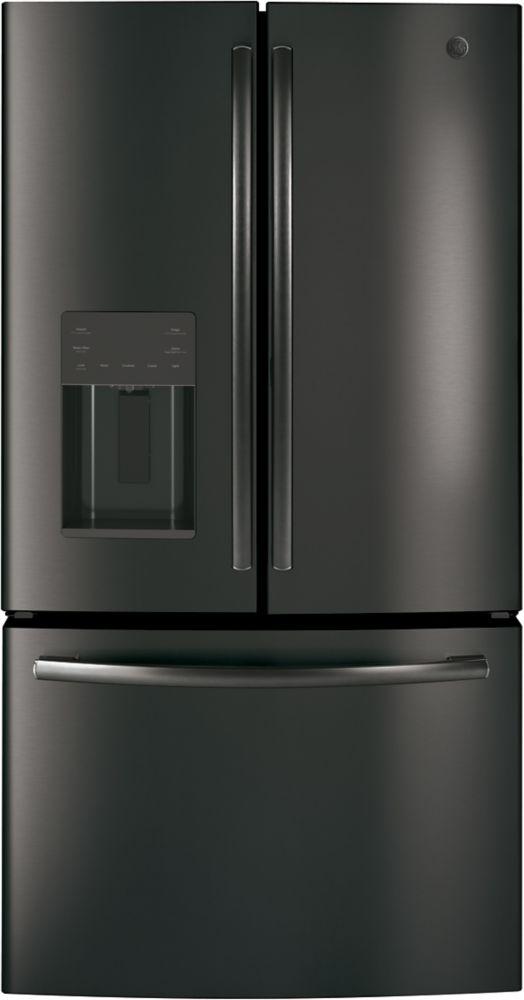 "GE 36"""" Bottom mount French door refrirator, 25.5 cu.ft - Black Stainless Steel - ENERGY STAR®"
