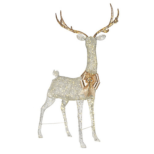 86-inch Warm White LED-Lit Giant Silver Deer Christmas Decoration